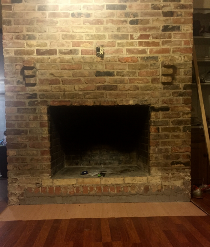 how to: mortar wash (german smear) a brick fireplace