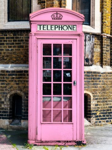 """Poster Print /""""Painted Pink Phone Booth in London/"""""""