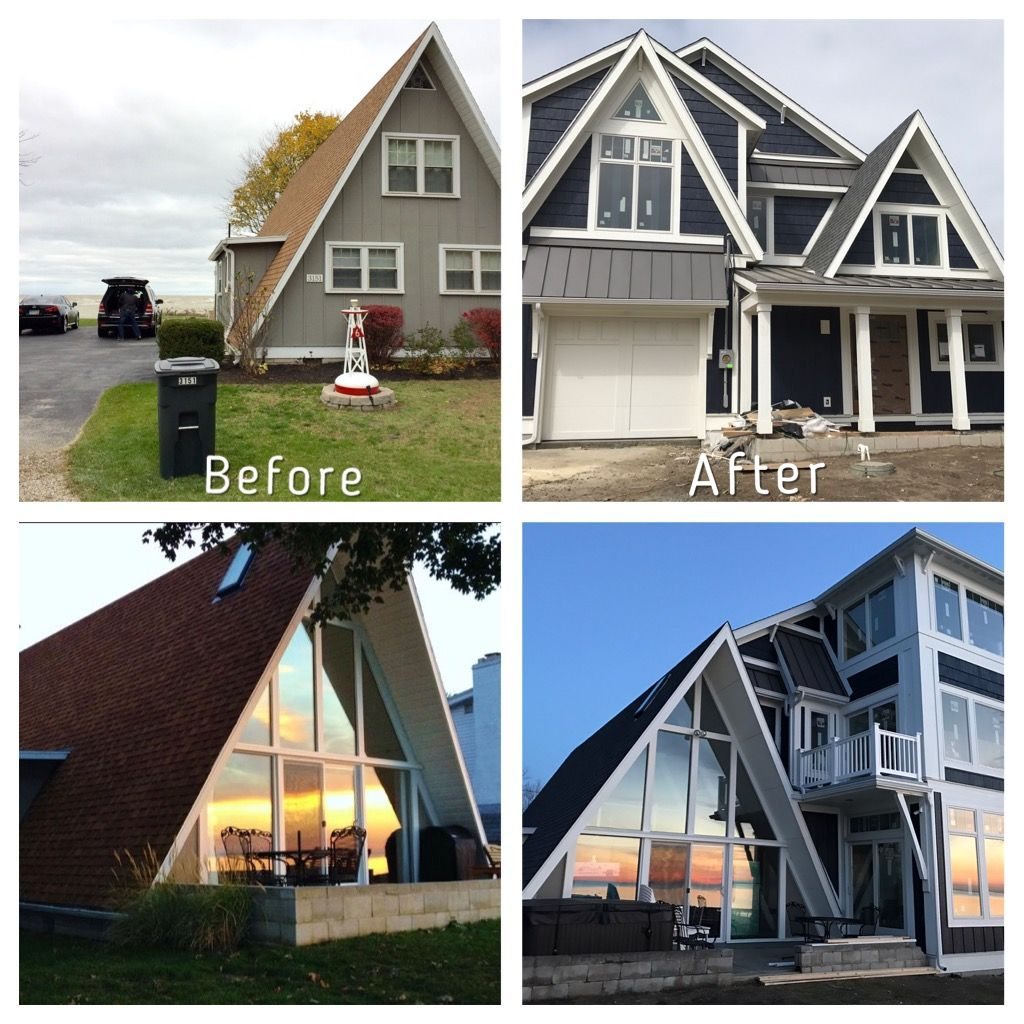 A Frame Addition Remodel Part 2 Before And After Anderson 400 Series Windows Lp Smartboard Siding Board And Batten Lake House House Exterior A Frame House