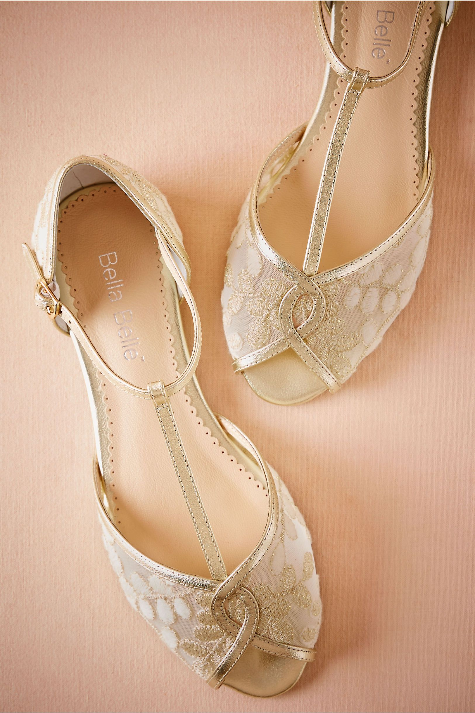 Bhldn Maisie Embroidered T Strap Flats Gold In Shoes Accessories