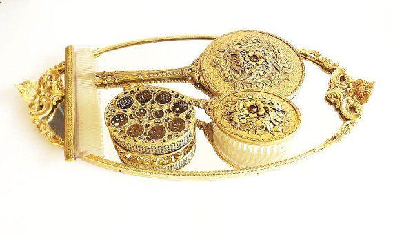 Rococo hairbrush and mirror