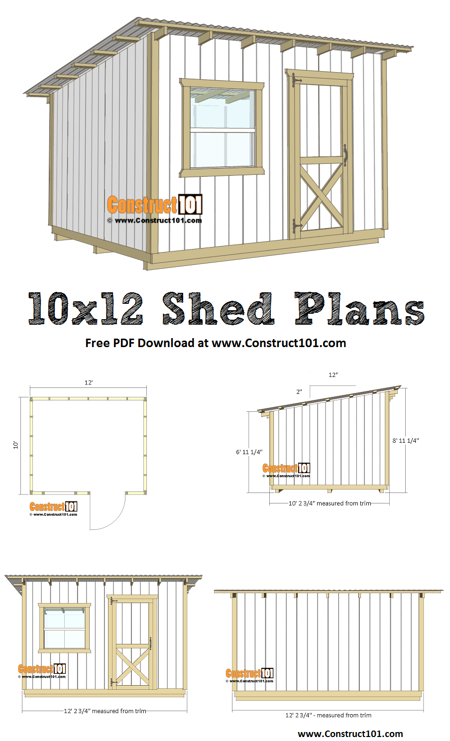 10x12 Lean To Shed Plans Pdf Download Construct101 Lean To Shed Diy Storage Shed Lean To Shed Plans