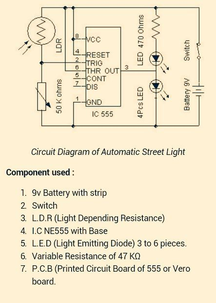 Auto Street Light Switch Using Ldr and Ic 555 | Ldr, Light switches ...