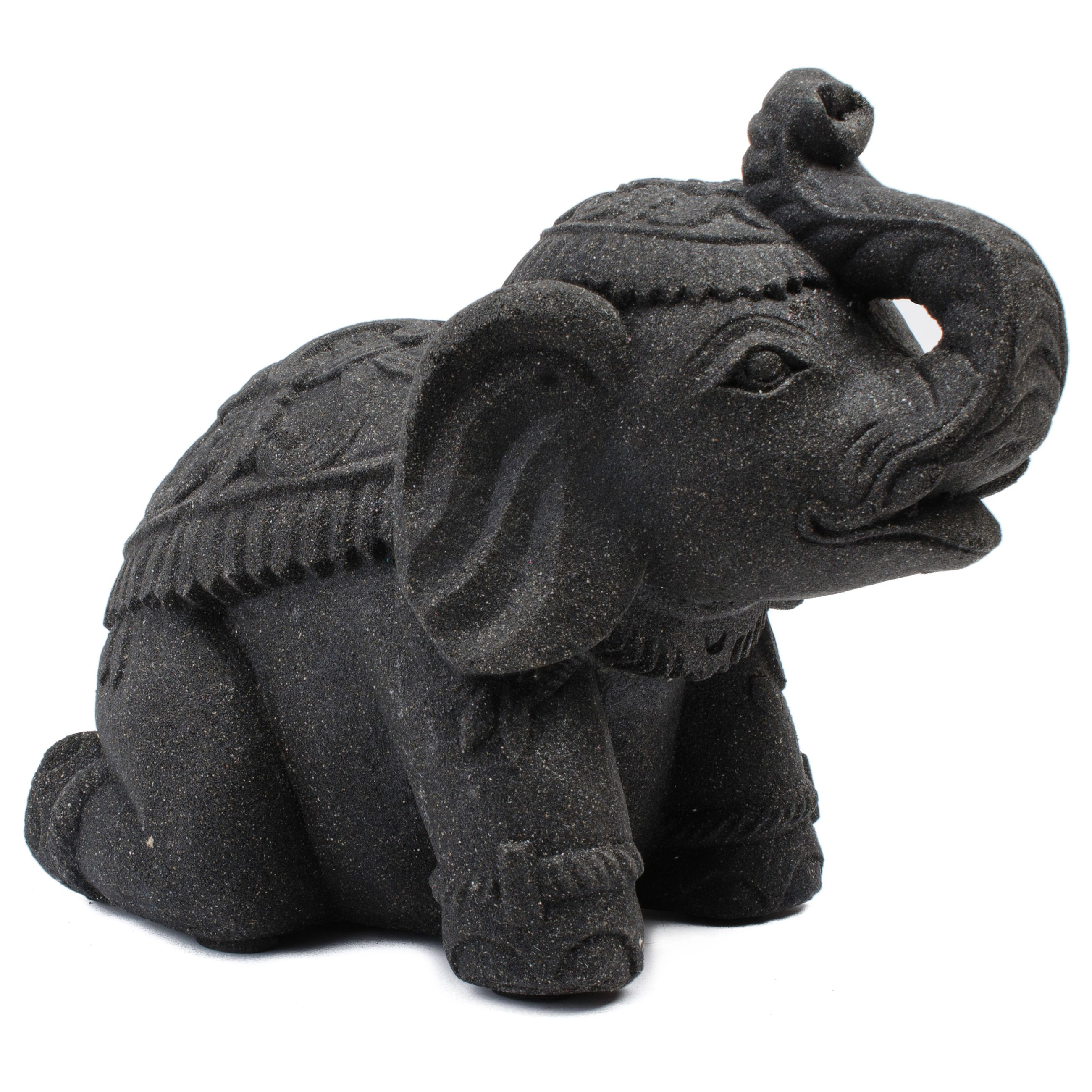 Small Stone Elephant Statuette, Handmade In Indonesia