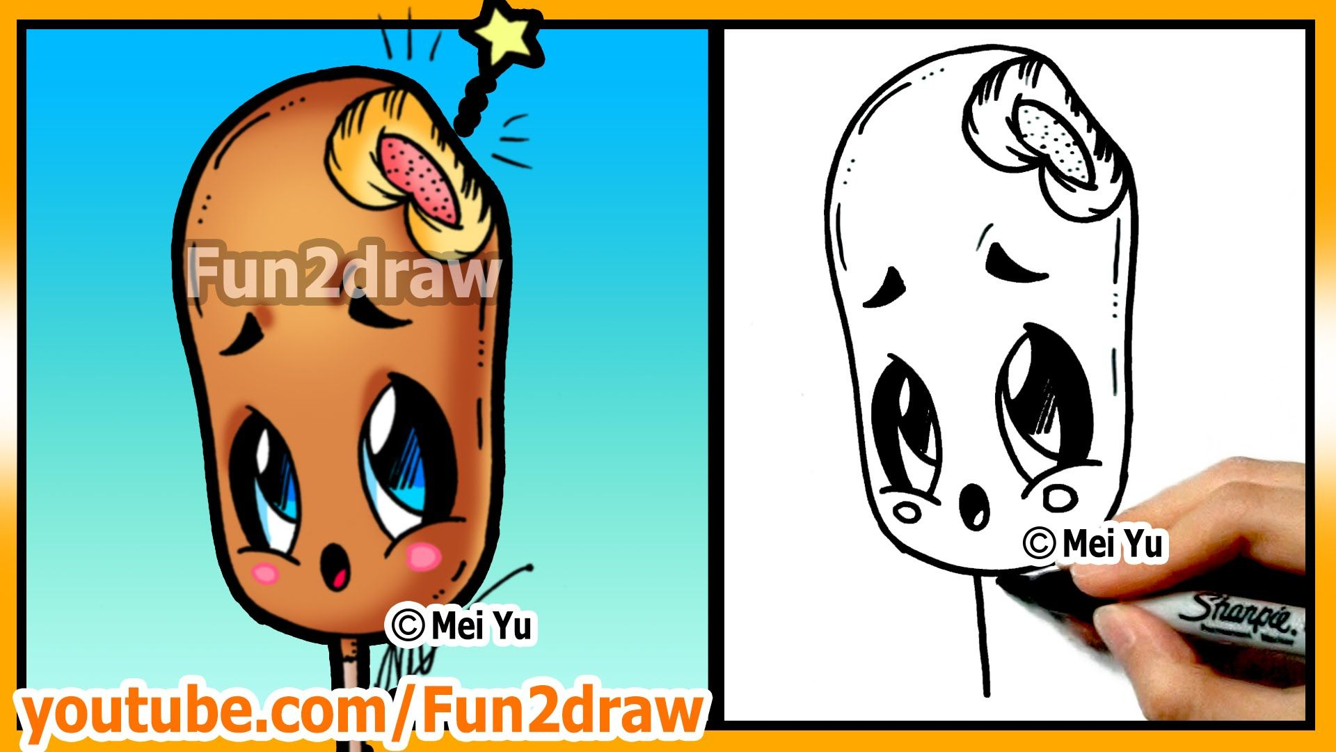 Learn to draw easy things cute food corn dog drawings for Easy stuff to draw that is cute