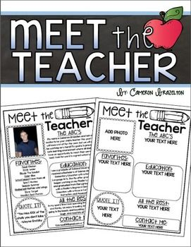 Meet The Teacher Editable Newsletter Back To School Open House
