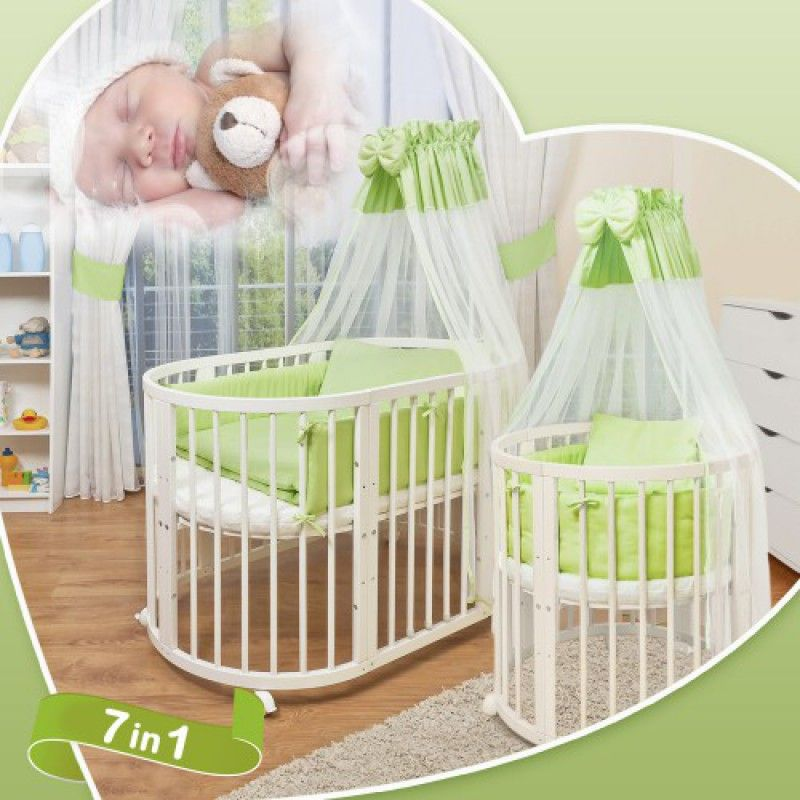 comfortbaby smartgrow 7 in 1 ovales babybett kinderbett wei rund ums kind. Black Bedroom Furniture Sets. Home Design Ideas
