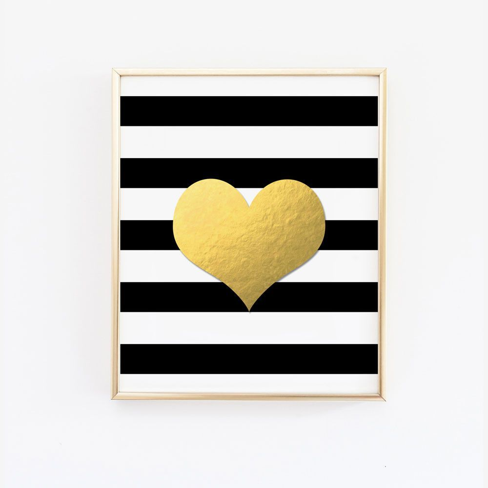 Heart on black and white stripes faux gold foil wall art in