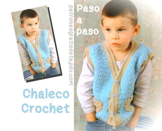 Como tejer chaleco para niño con crochet moldes y patrones | Crochet ...
