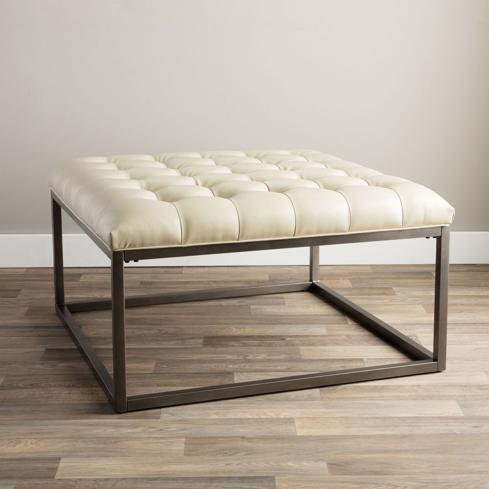 Modern Tufted Ottoman Leather Metal Wood Accent White Coffee Table Upholster New Leather Ottoman Coffee Table Tufted Ottoman Coffee Table White Leather Ottoman