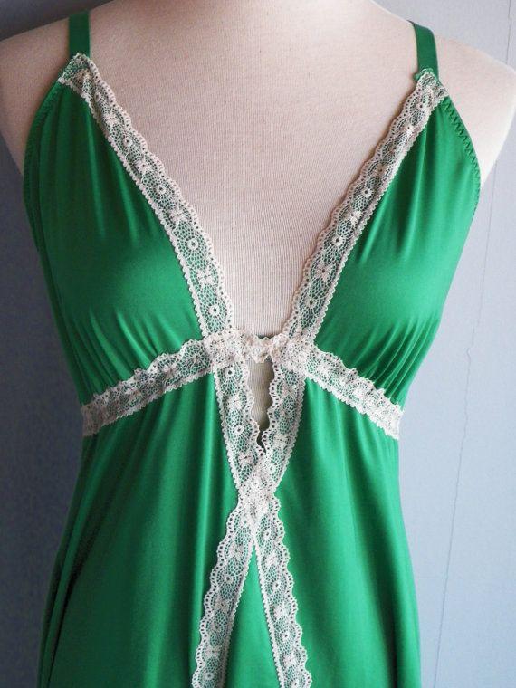 b923dee9c1ed Emerald Green Goddess Negligee nightie, Plunging lace neckline ...