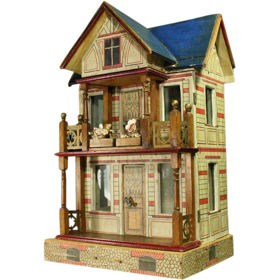 Bliss Dollhouse Wallpaper: Antique Gottschalk Blue-roofed Villa With Two Furnished