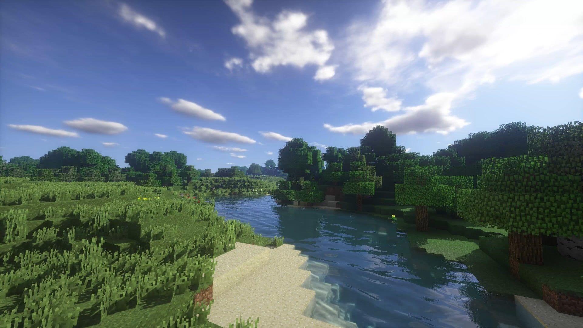 Landscape Minecraft Shaders 1080p Wallpaper Hdwallpaper Desktop In 2020 Minecraft Shaders Minecraft Wallpaper Desktop Wallpaper