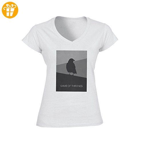 Game Of Thrones The Raven Design XXL Damen V-Neck T-Shirt (*Partner-Link)
