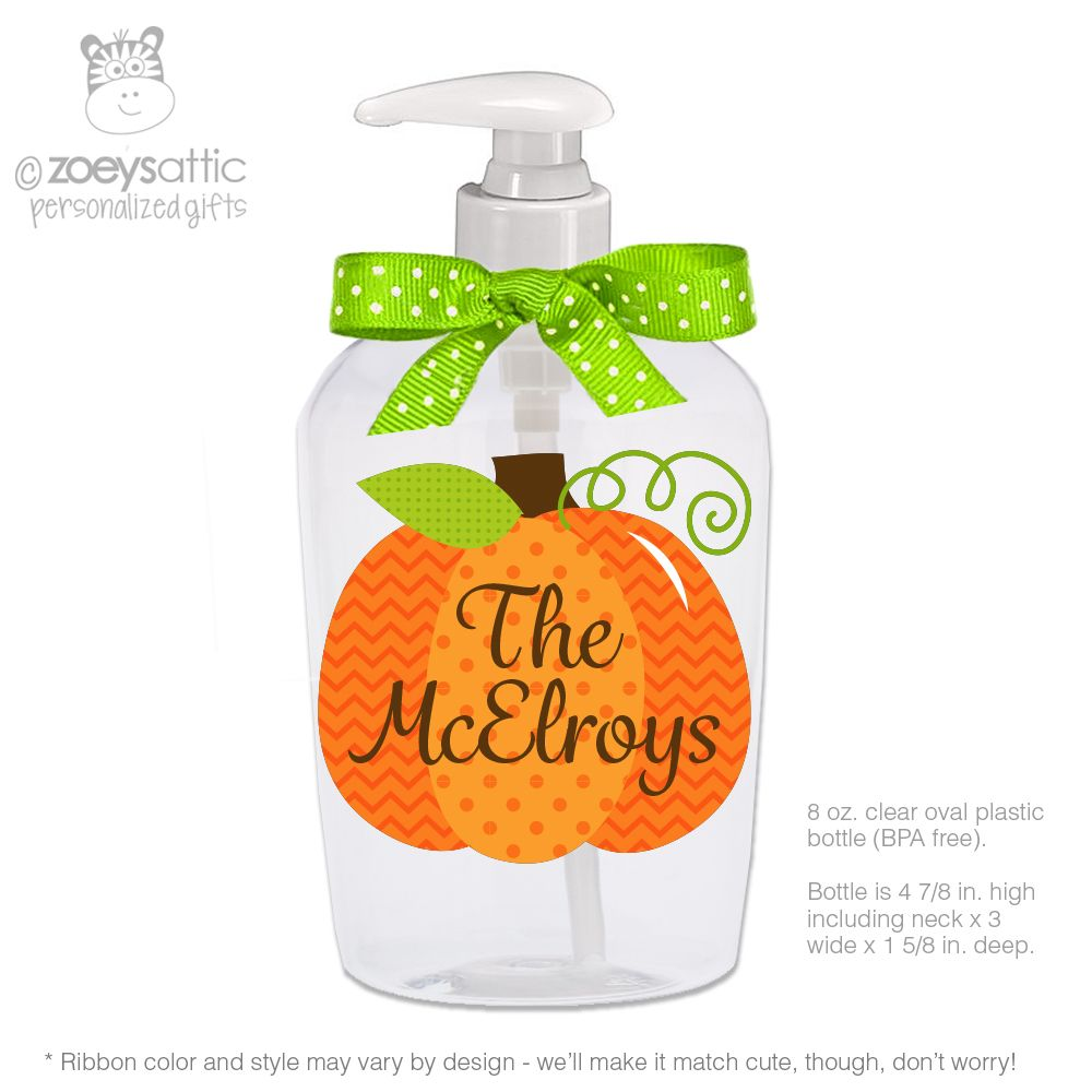 Halloween Pumpkin Personalized Lotion Or Hand Sanitizer Or Soap