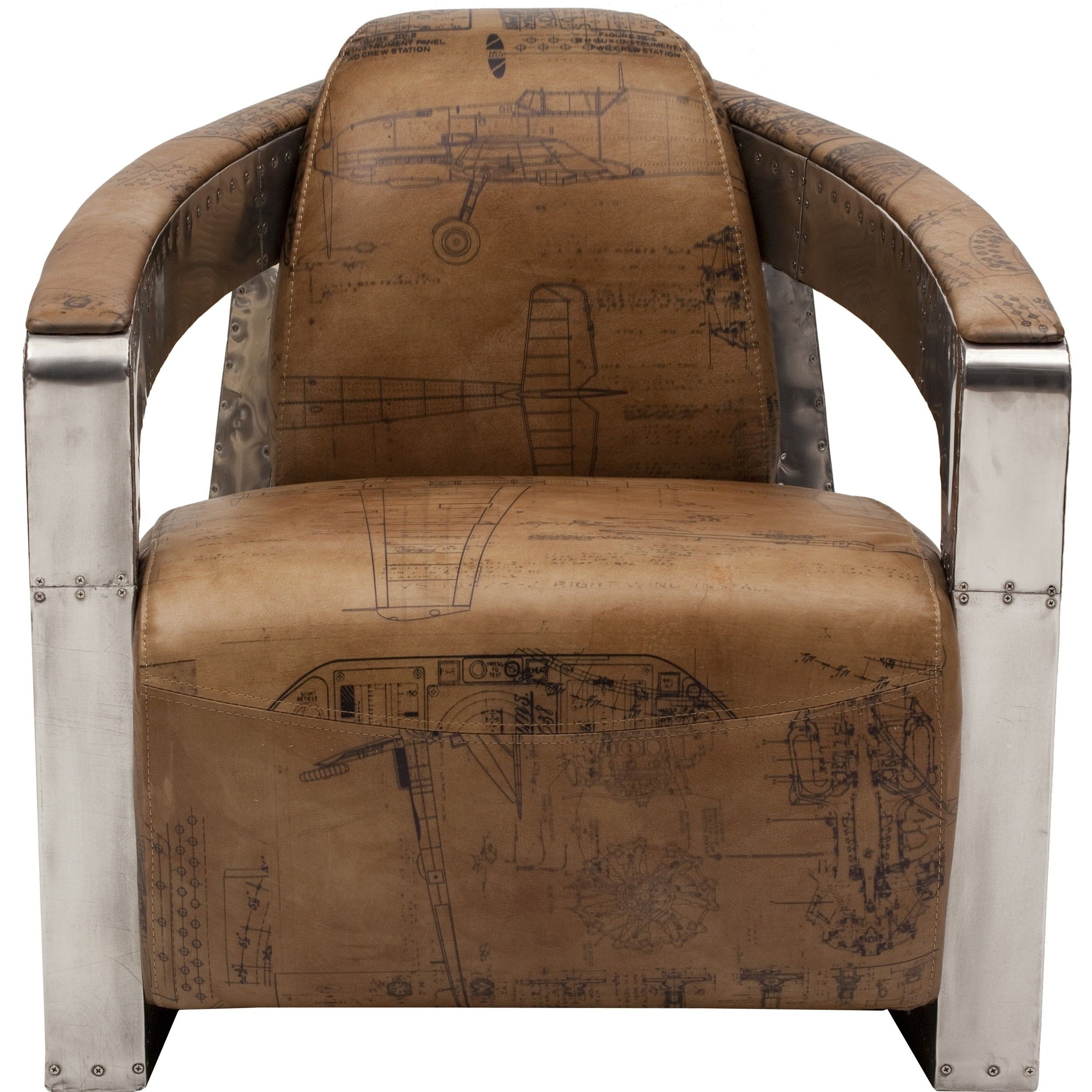 Sinclair Club Chair With Leather And Spitfire Arms
