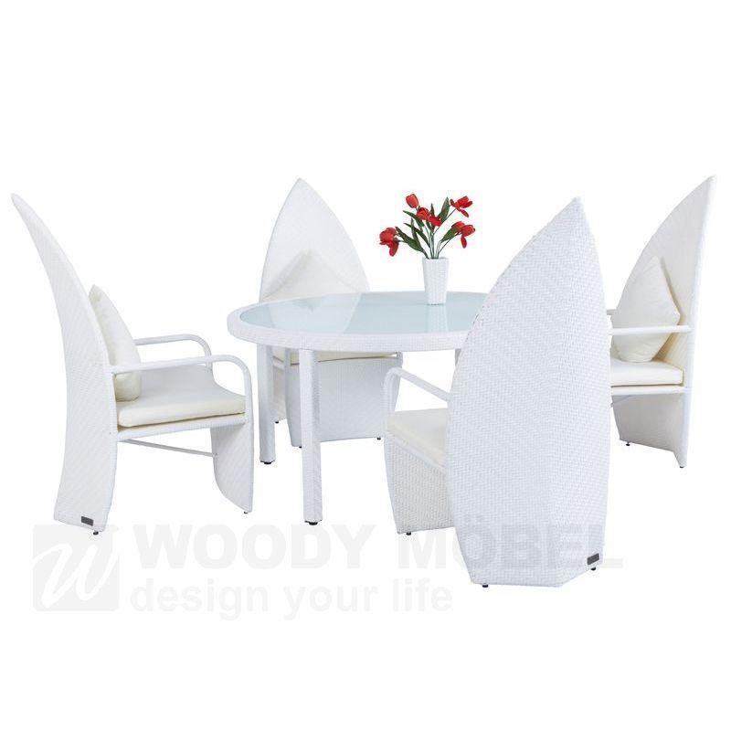 Garten - Esstischgruppe Mit Designstühlen Weiss Geflecht Woody 122