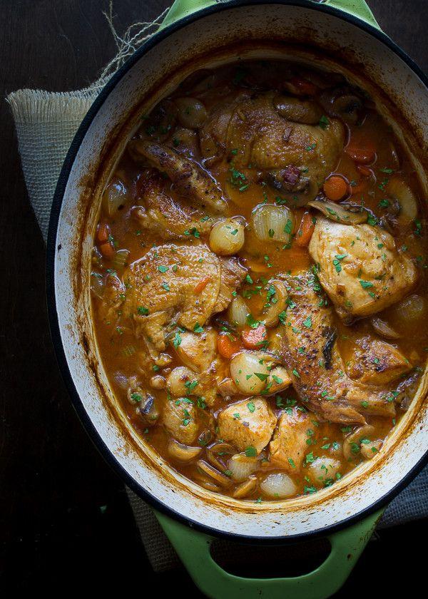 Coq au Viin Blanc | @tasteLUVnourish | #coqauvin #chicken #whitewine #stew #comfortfood