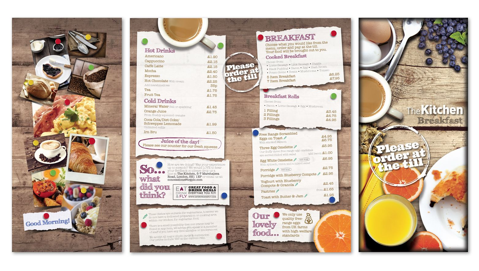 breakfast menu rebrand for the kitchen in aberdeen airport