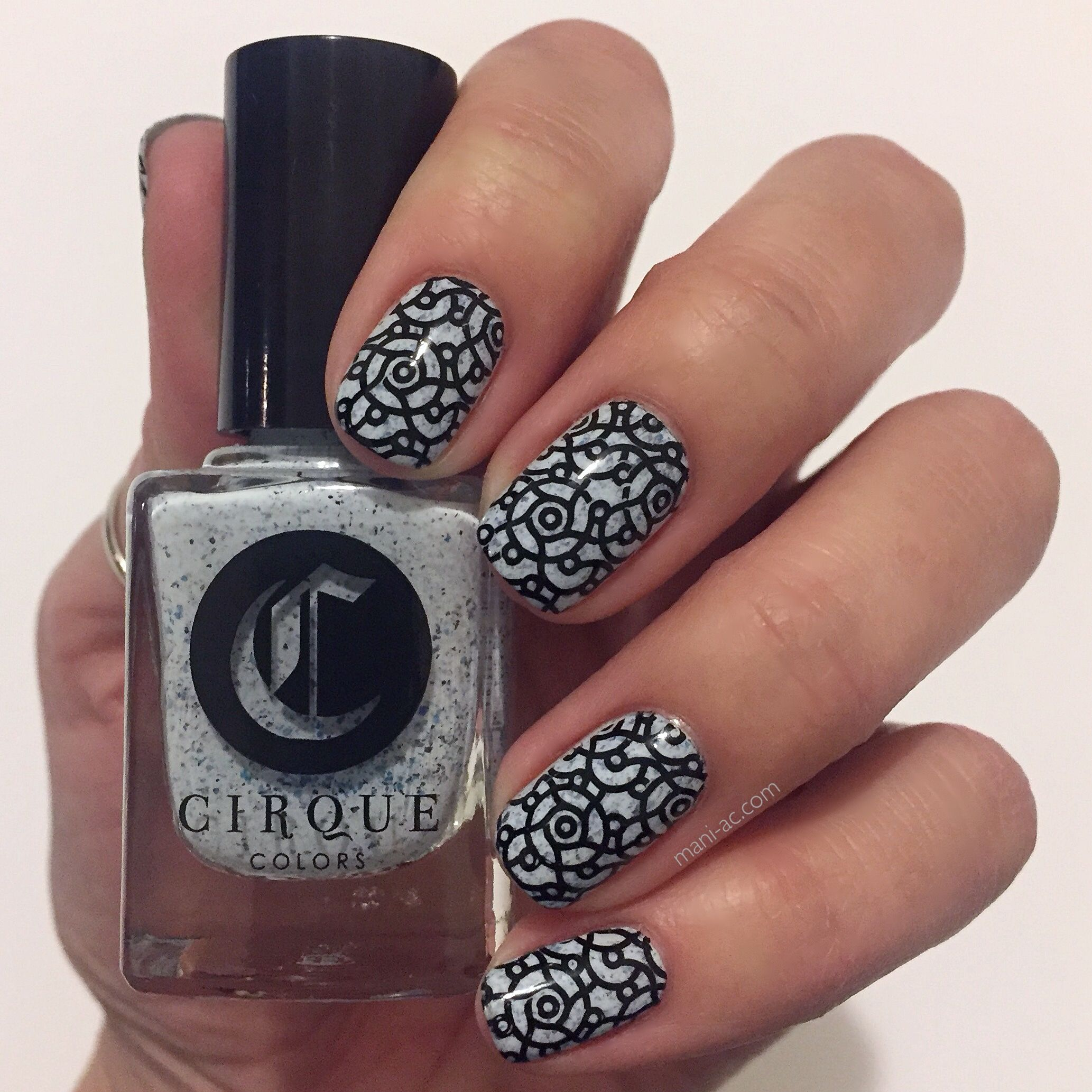 Stamped manicure: Cirque Colors - Acid Wash, MoYou London - Black Knight, Bundle Monster Plate - XL220, Seche Vite - Dry Fast Top Coat