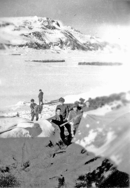 "THE JAPANESE ON ATTU ""While I can't determine exactly what's going on in this photo, I can guess that perhaps the soldiers were digging in, preparing defensive positions in the mountains of Attu. As there is an adequate amount of snow on the ground, the date for this photo would be somewhere between October of 1942 and April of 1943."" (11–30 May 1943, more than two week battle ended when most of the Japanese defenders were killed in brutal hand-to-hand combat after a final banzai charge…"