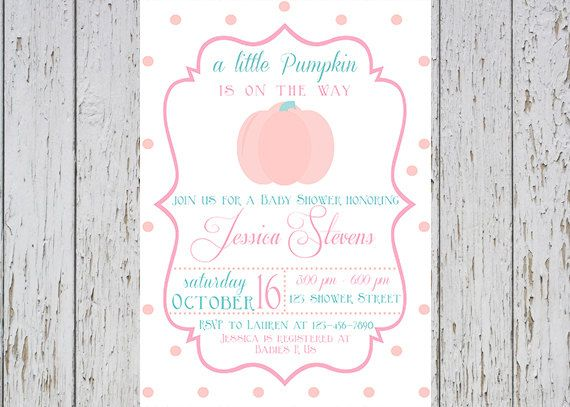 Hey, I found this really awesome Etsy listing at https://www.etsy.com/listing/199374515/pumpkin-baby-shower-invitation-pink-teal