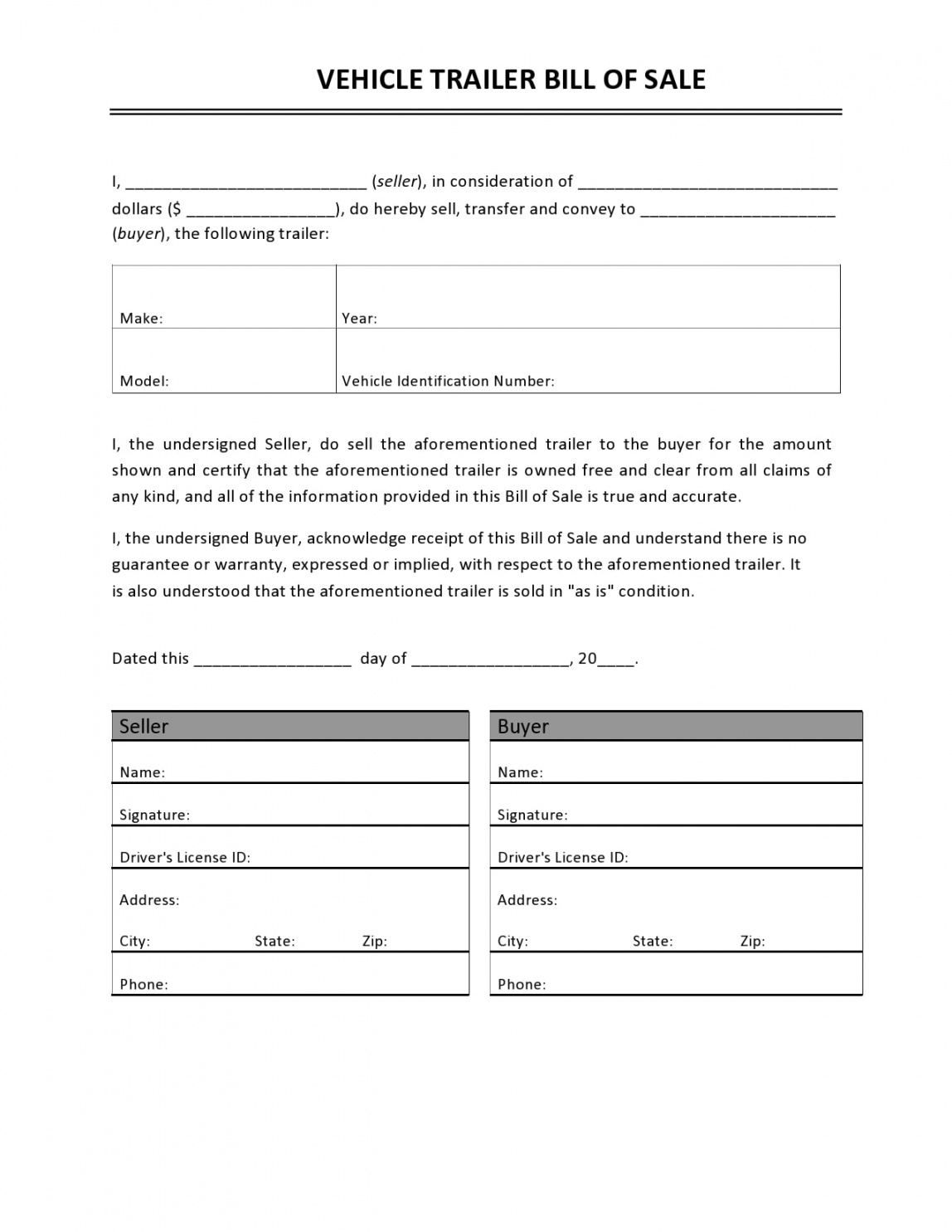 Camper bill of sale template doc example in 2021 bill of