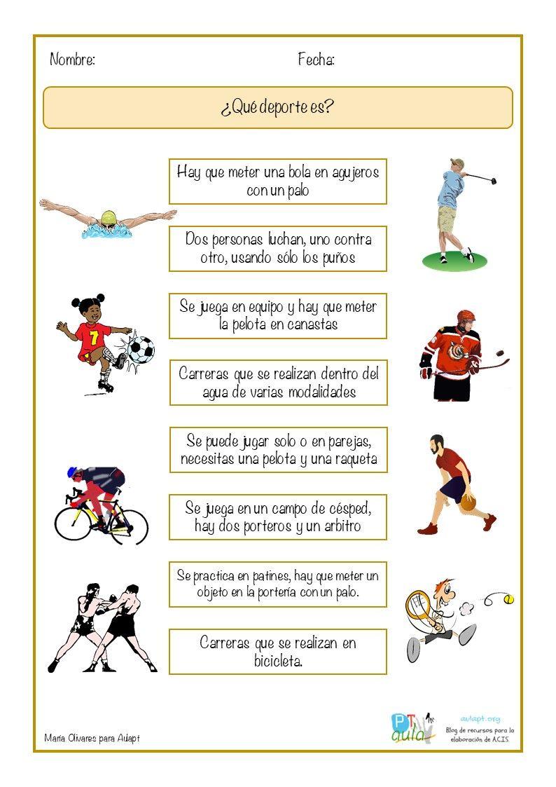 Qué Deporte Es Nuevo Ejercicio De Asociación De Imagen 8211 Actividades De Vocabulario Ejercicios De Educacion Fisica Ejercicios De Estimulacion Cognitiva