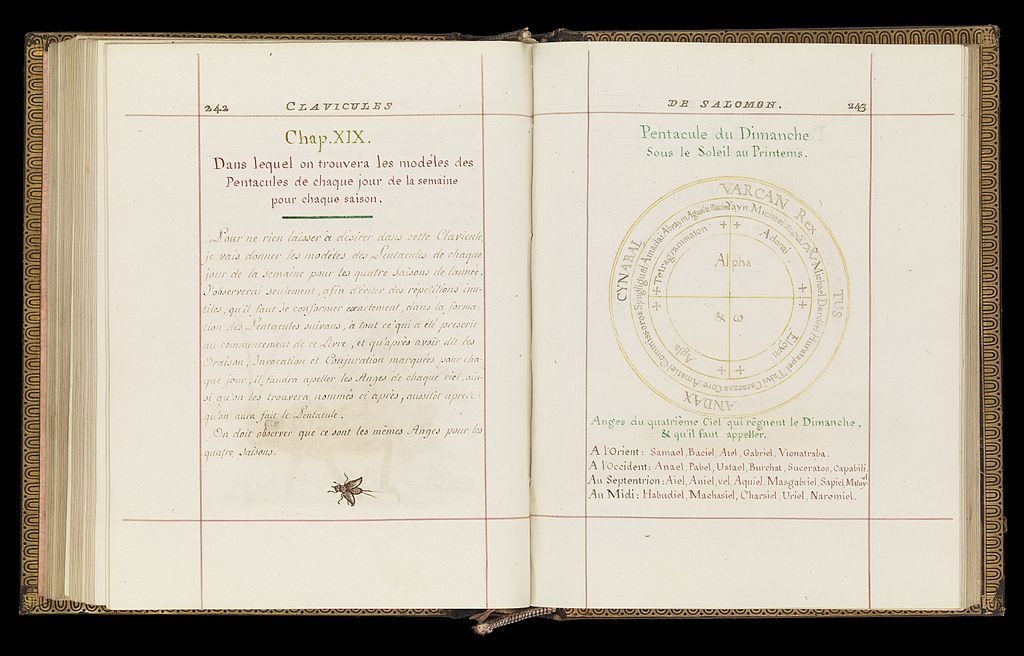 """Magical figures are drawn in the magical grimoire, the """"Key of Solomon."""" Many books of Solomon have existed, but not all of them can be attributed to King Solomon. The book that Spooky discovers is the original """"Book of Solomon."""" http://wellcomeimages.org/indexplus/obf_images/69/c2/f219044d3602f2c0b655b36861ff.jpg [CC-BY-4.0 (http://creativecommons.org/licenses/by/4.0)], via Wikimedia Commons"""