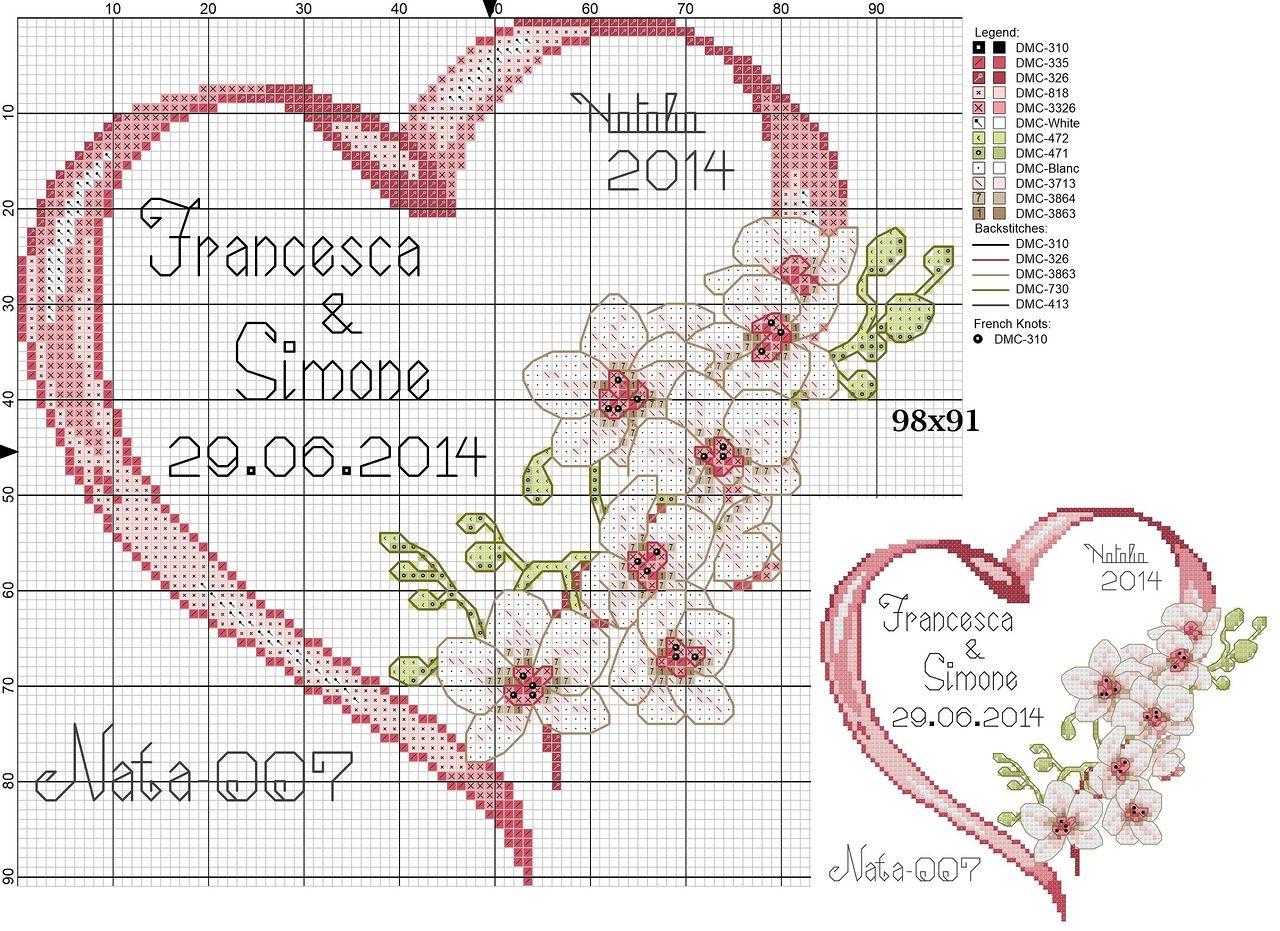 Схема вышивка открытка на свадьбу, юбилеем