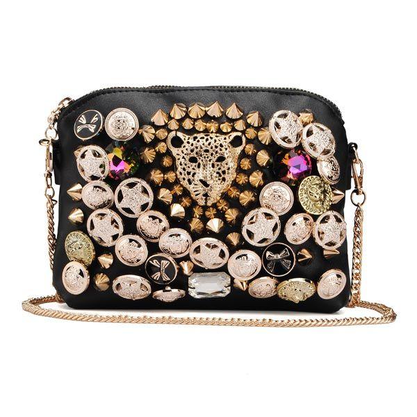 Women Diamante Pearl Rivets Clutch Bag