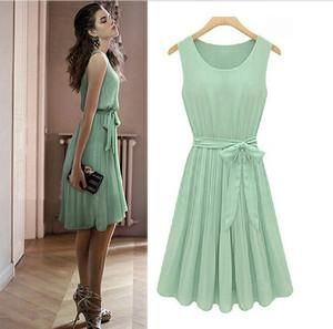 Wholesale Casual Dresses - Buy Vintage Womens Pleated Mint Green Sleeveless Belted Chiffon Dress S M L, $12.98 | DHgate