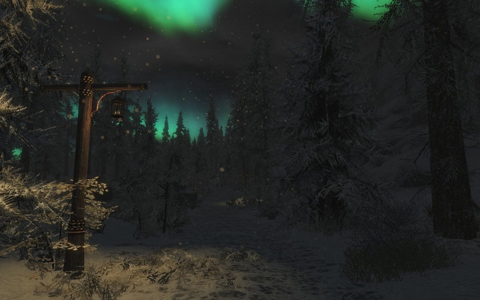 Lamp post in the Snow in Hjaalmarch, Skyrim | Skyrim
