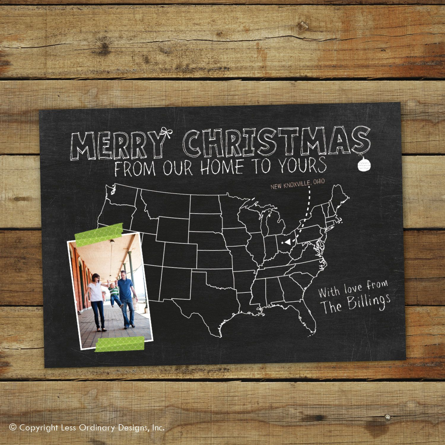 Chalkboard Map Christmas card, moving announcement, we\'ve moved ...