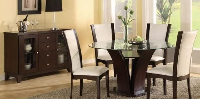 Great Modern Contemporary 5 Pc Dining Table Set Choice Of White Or