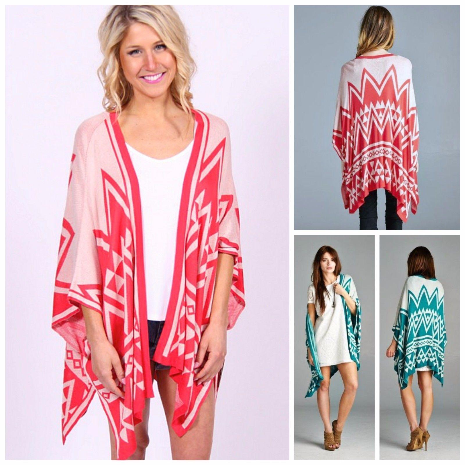 Staccato boho summer poncho wrap kimono cardigan sweater aztec geo ...