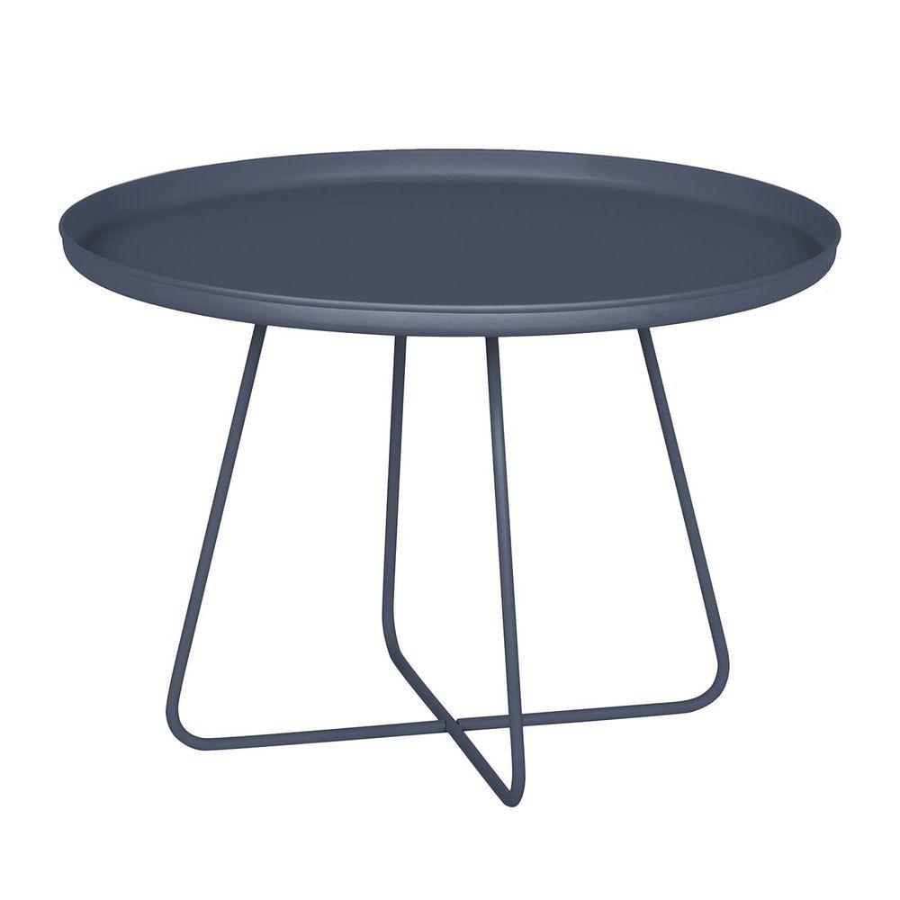 Design Metall Couchtisch Dunkelgrau Rund 65cm Tisch Retro Esstisch