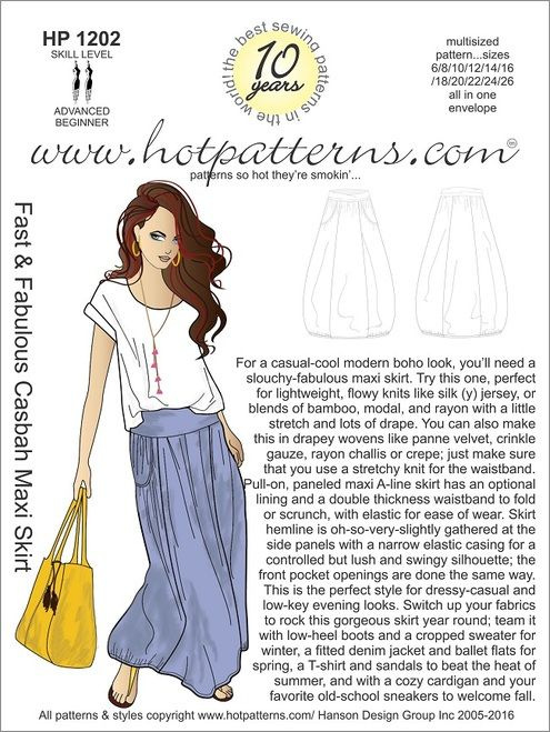HP 1202 Fast & Fabulous Casbah Maxi Skirt | Sewing | Pinterest | Nähen