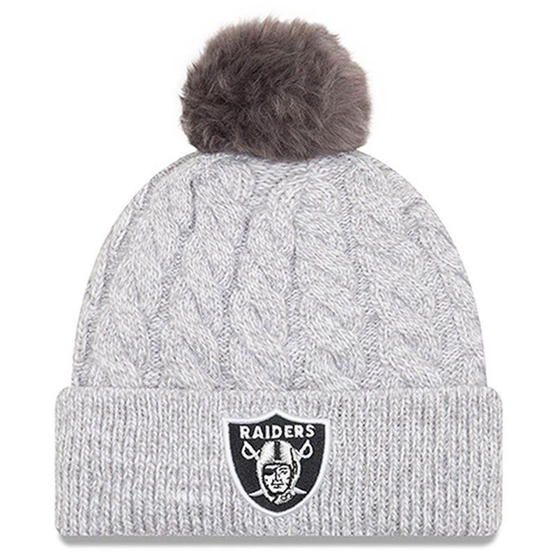 new styles 5dbd1 15aa5 Oakland Raiders New Era Women s Toasty Cuffed Knit Hat with Pom - Gray