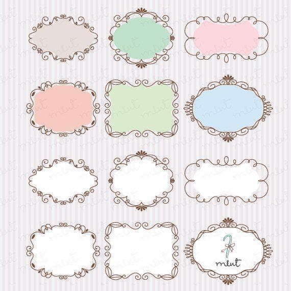 Decorative Text Box 24 Decorative Frames Clipart  Digital Clip Art For Scrapbooking