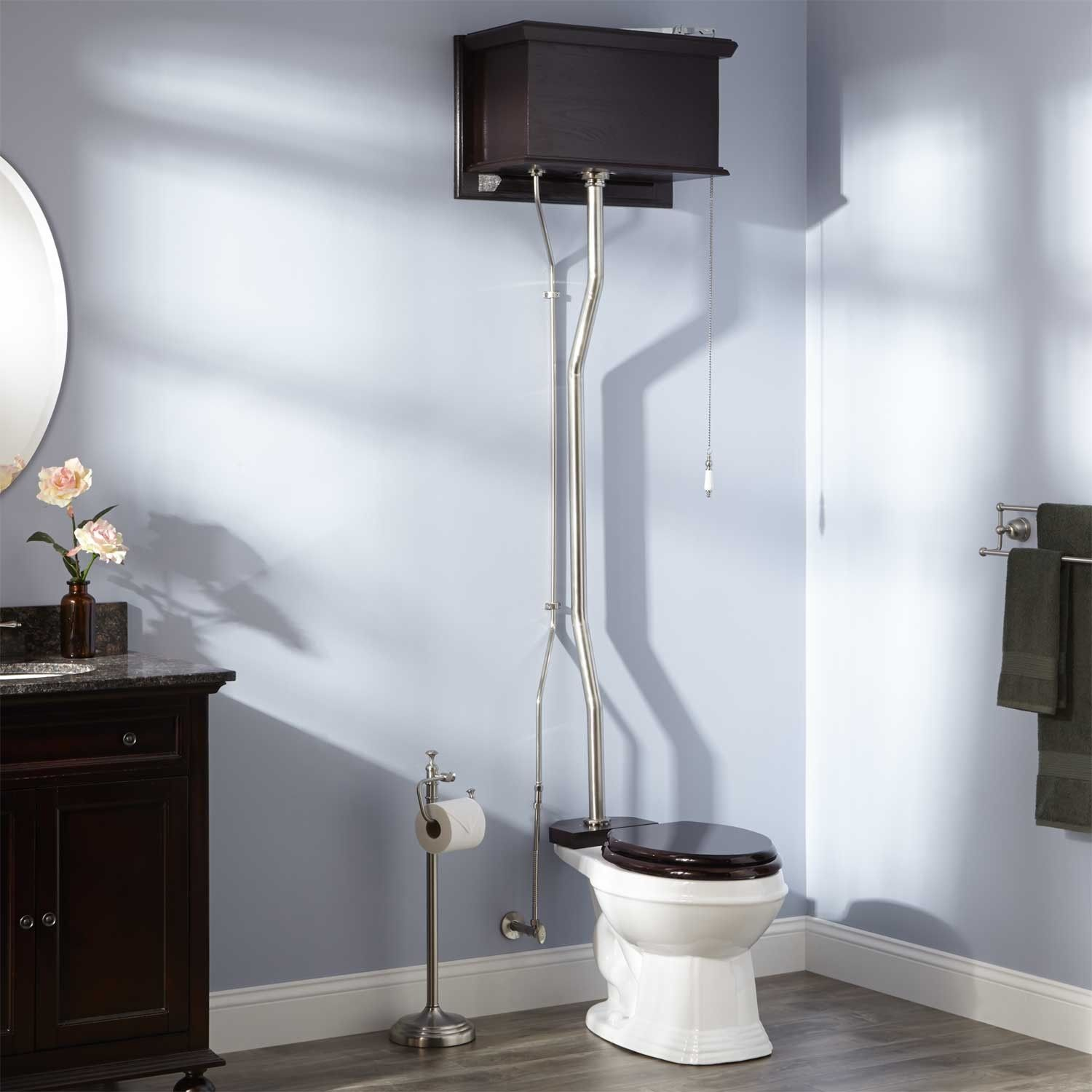 High Tank Pull Chain Toilet Mahogany High Tank Pull Chain Water Closet With Elongated Victorian