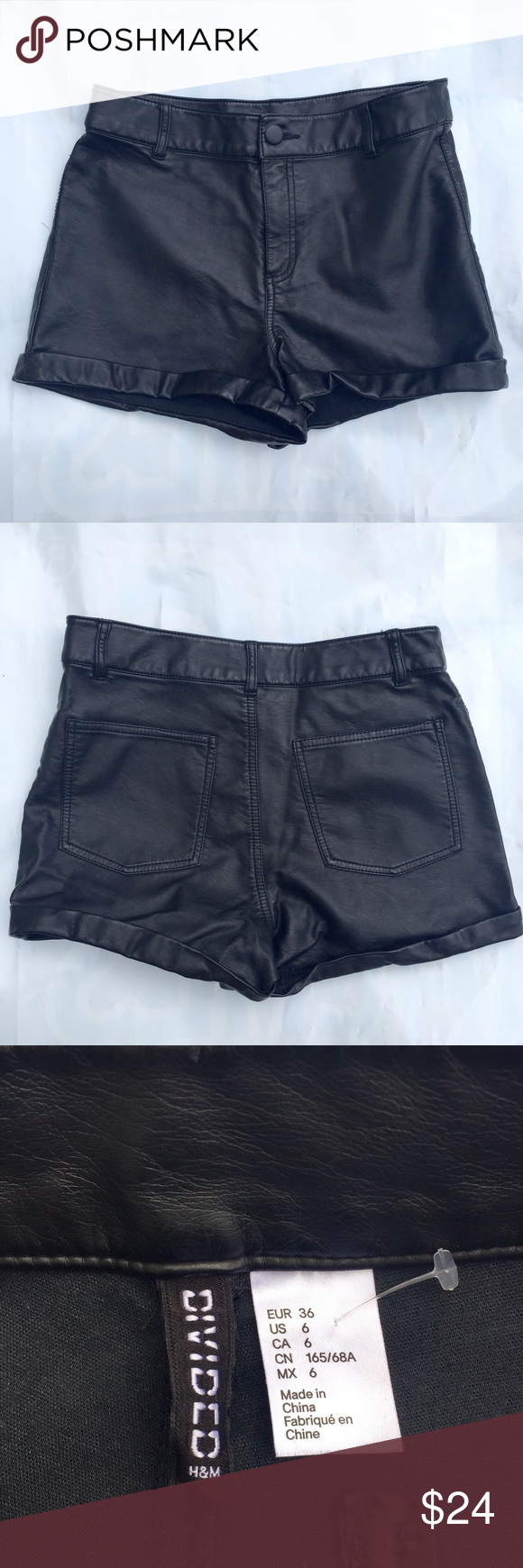 H&M Faux Leather Shorts Much more comfortable than real leather, back pockets, size 6 shorts from H&M. Worn only once. Divided Shorts