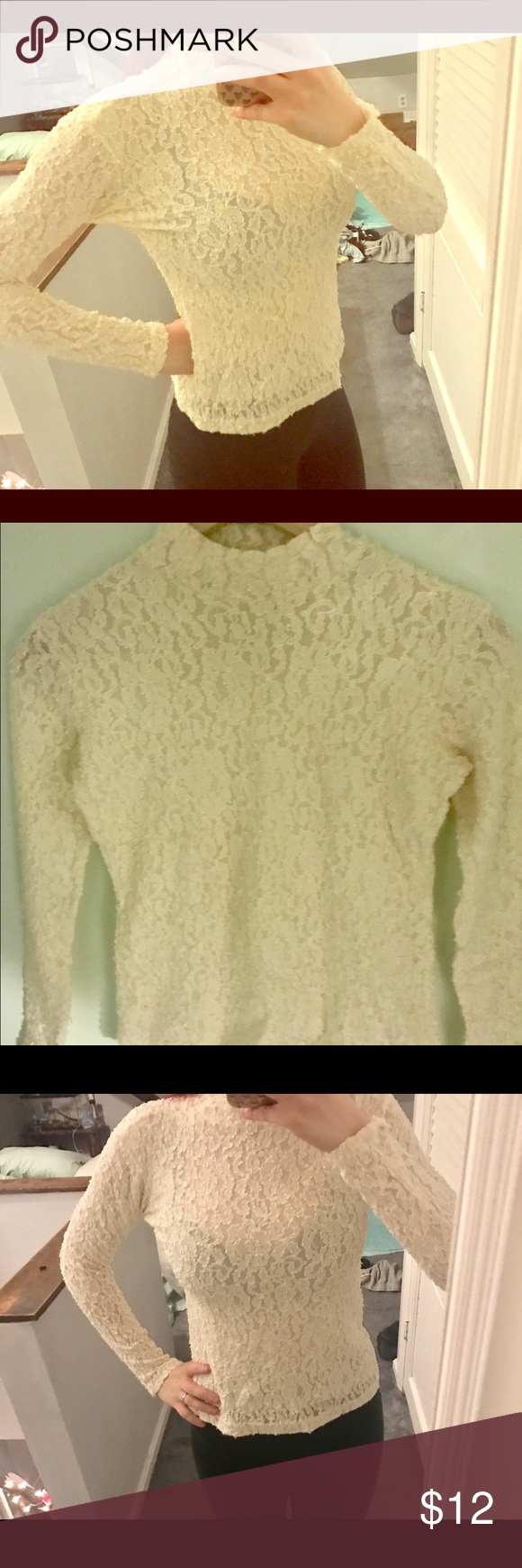 Lace cream mock neck Lace cream mock neck shirt!! Brand is hobby horse !! Sooo cute !! Great condition!! hobby horse Tops Blouses