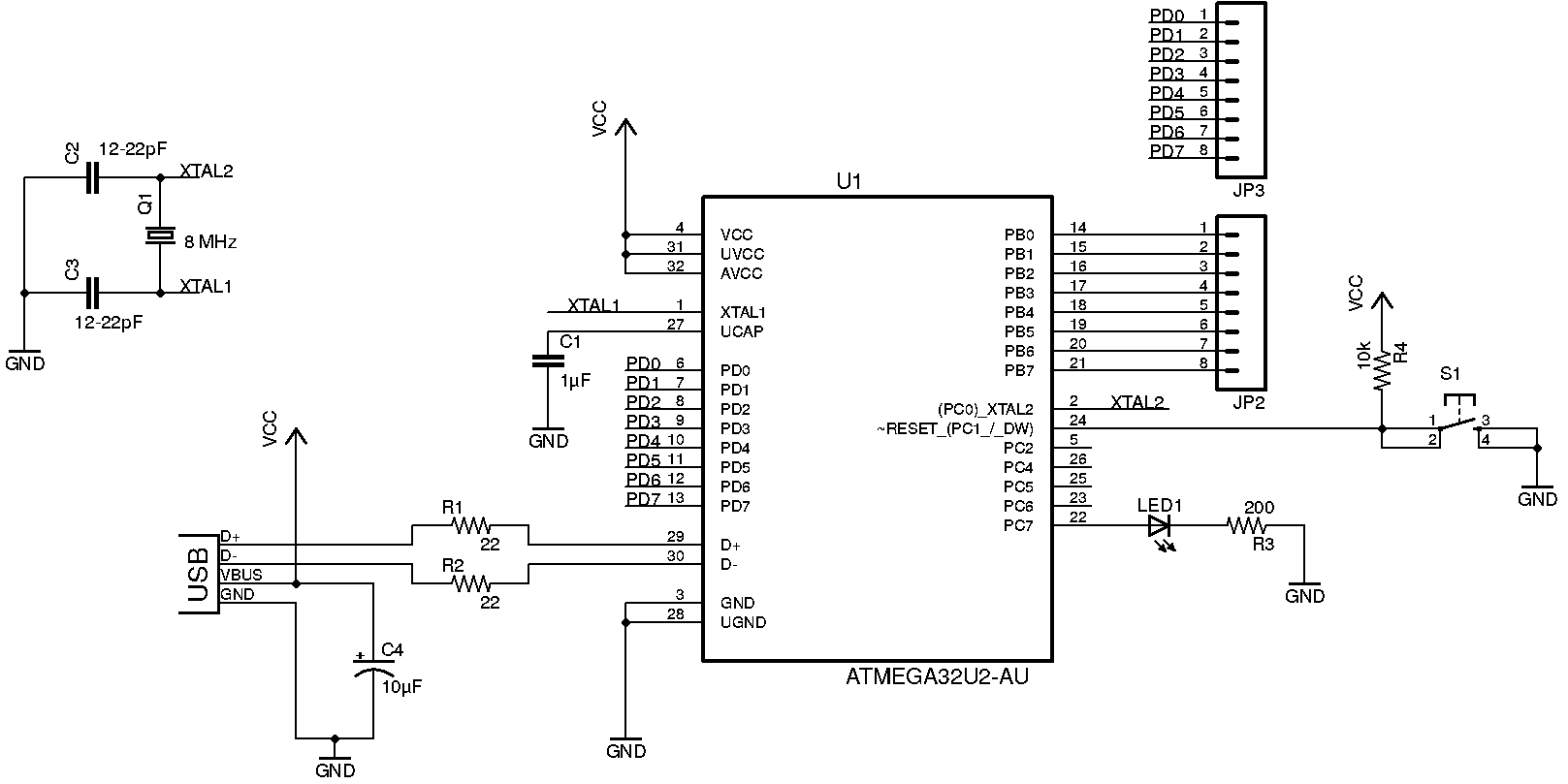 ATmega32U2 circuit diagram | Arduino | Pinterest | Circuit diagram ...