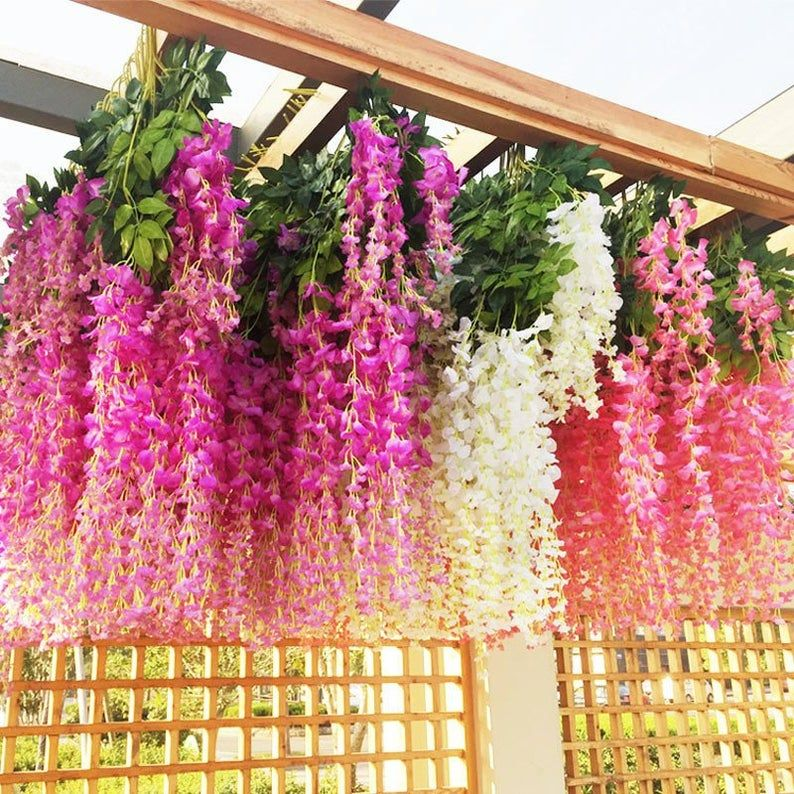 12pcs Wisteria Artificial Flowers Garland Artificial Vine Etsy Artificial Flowers Artificial Flowers Outdoors Flowering Vines