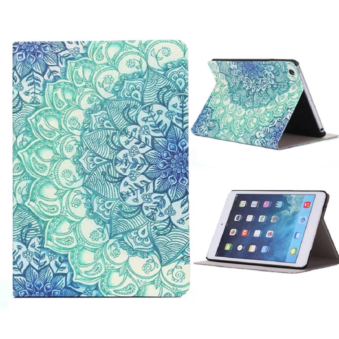 Ipad Mini Leather Case, Shensee Floral Pattern Flip Stand Leather Case Cover for Ipad Mini 1 2 3 Retina