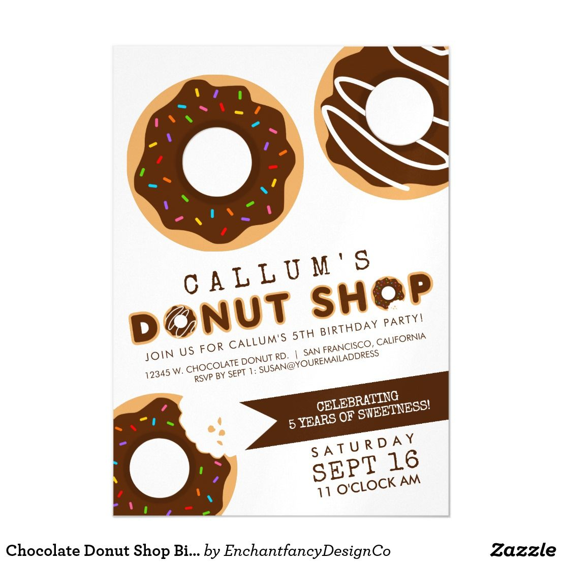 Chocolate donut shop birthday party magnetic card the chocolate chocolate donut shop birthday party magnetic card the chocolate donut shop birthday party magnet invitation will help set the tone for a sweet celebration filmwisefo Choice Image