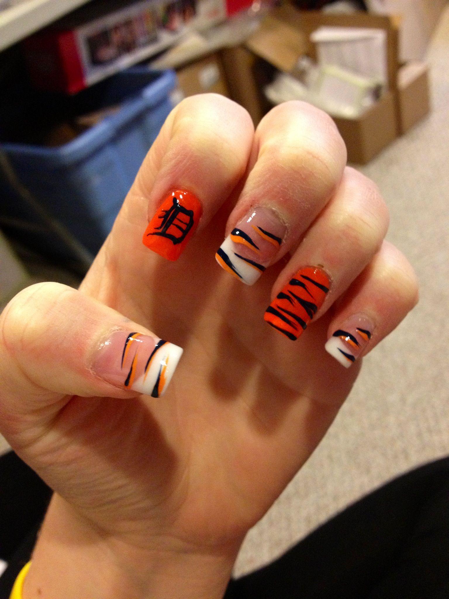 Detroit Tigers Nails | Nail art | Pinterest | Tiger nails, Detroit ...