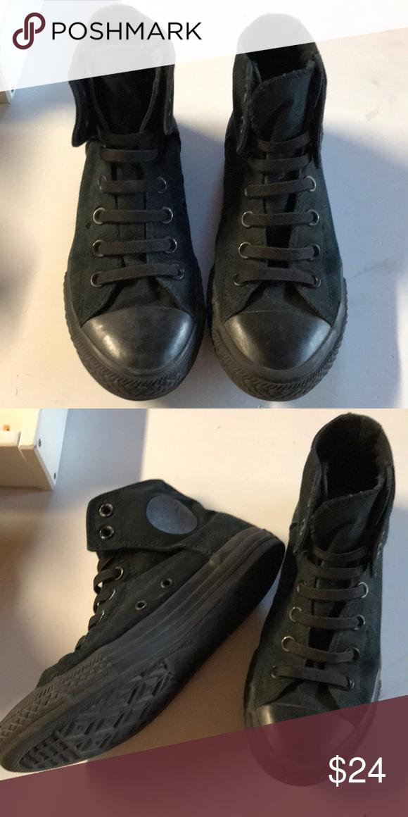 Black high top Velcro on Converse