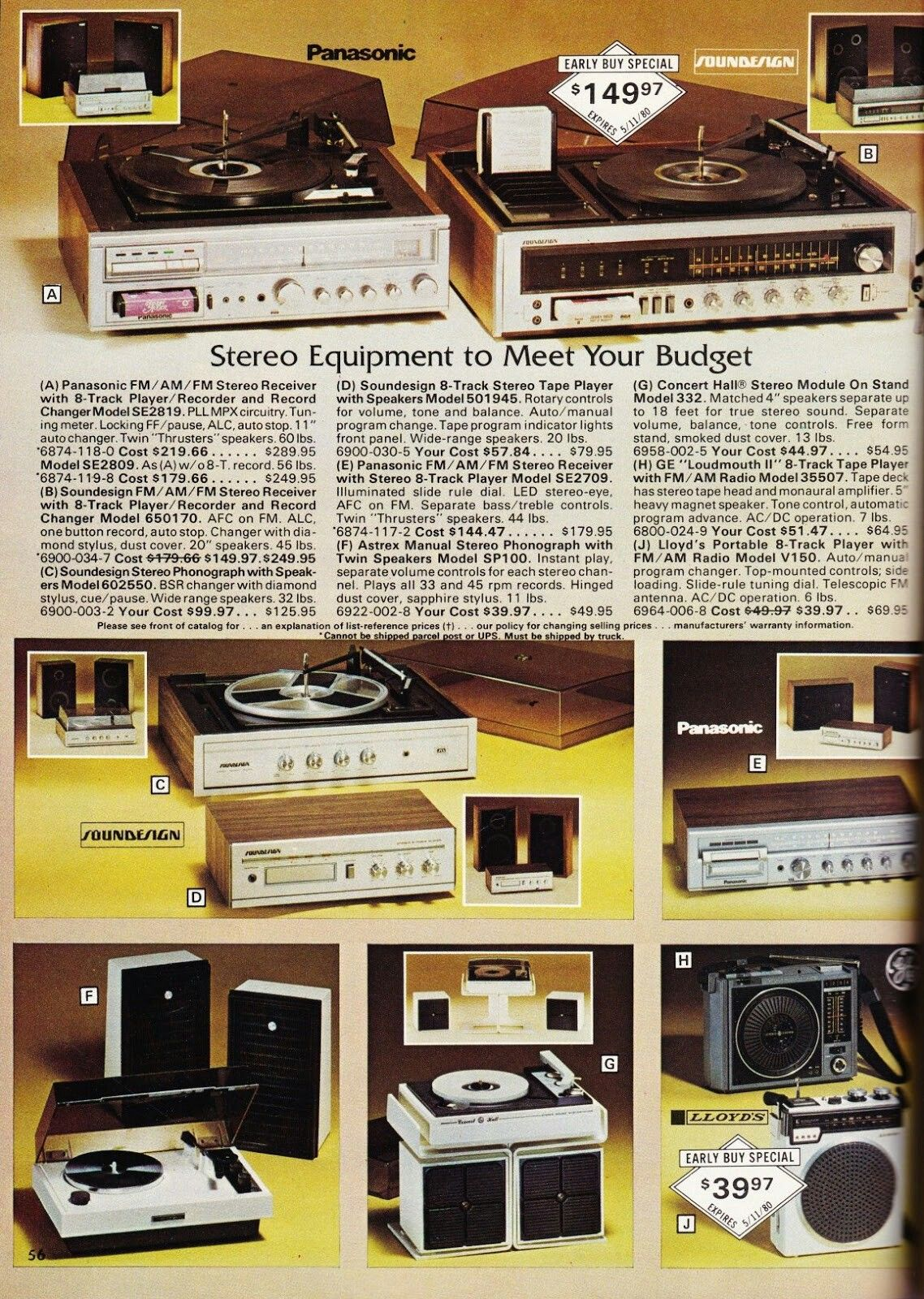 Electronics from a Service Merchandise Catalog